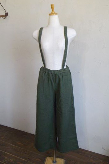 cotton flannel suspender pants(カーキ)