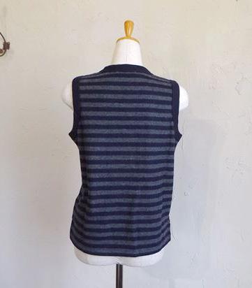 Special Soft wool vest(グレー×ネイビーBD)