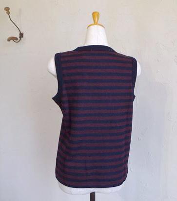 Special Soft wool vest(ボルドー×ネイビーBD)