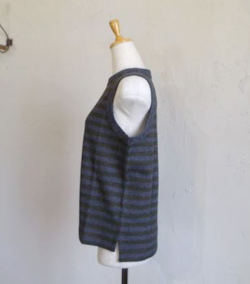 Special Soft wool vest(グレー×カーキBD)
