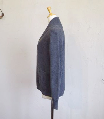 AUSTRALIA Super Fine merino wool rib cardigan(チャコール)