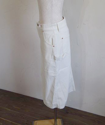 stretch corduroy 5pocket skirt UNIVERSAL zip(ホワイト)