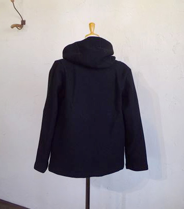 ITALY beaver cloth Hooded Half Coat(ブラック)