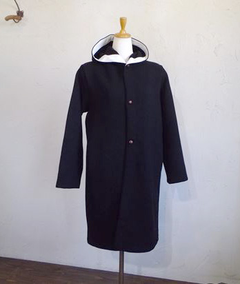 ITALY beaver cloth Hooded Coat(ブラック)