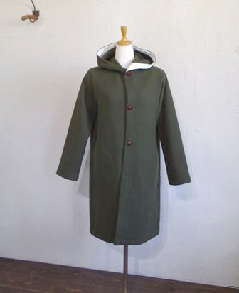 ITALY beaver cloth Hooded Coat(カーキ)