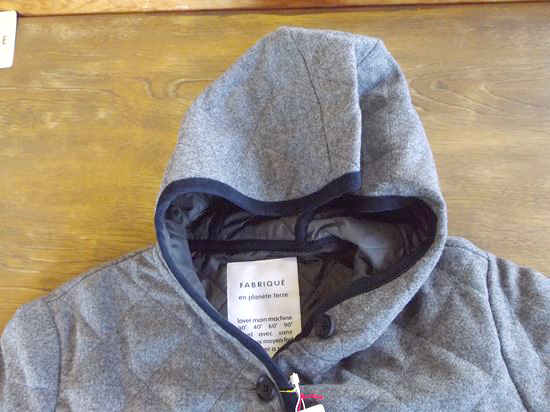 UK tweed ORG/quilt Hooded coat(ミディアムグレー)
