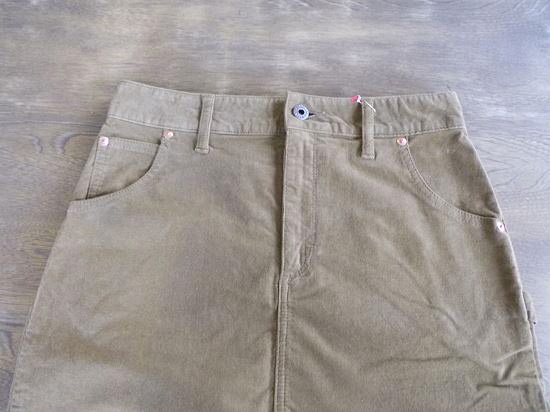 stretch corduroy 5pocket skirt UNIVERSAL zip(キャメル)